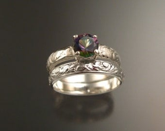 Mystic Topaz Wedding set Sterling Silver rings made to order in your size