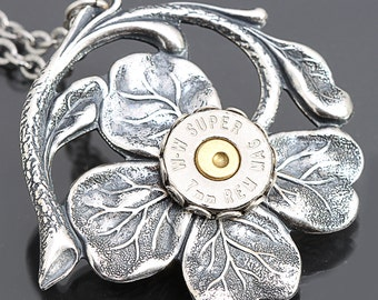 Bullet Casing Necklace Bullet Necklace Four Leaf Clover Necklace