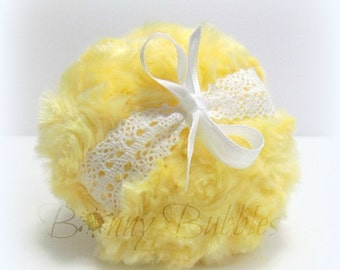 Yellow Powder Puff - sunshine yellow and white - jaune crochet lace bath pouf - gift box option - by Bonny Bubbles