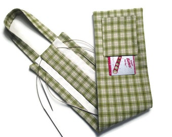 Hanging Organizer for Circular Knitting Needles Green Tattersall Check Needle Case with Slots and Pocket 30 Slot Case Plaid Case