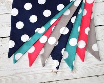Polka Dot Flags - Fabric Bunting - Turquoise Polka Dot Banner - Navy and Pink Decor