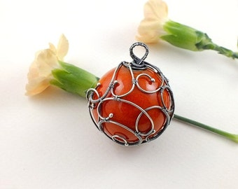 SALE Silver wire wrap necklace, ceramic ball necklace, orange necklace, sterling silver jewelry