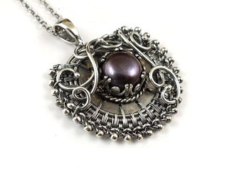 Wire wrapped necklace, purple pearl pendant, sterling silver jewelry, retro necklace