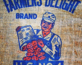 "Farm Fresh / Burlap Potato Bag / Number One / Farmer / Farm Fresh / 36"" X 23"""