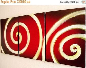 "triptych 3 panel canvas wall art  ""bullseye"" 35.5x12 inches custom darts feather darts 3 panel wall art triptych art"