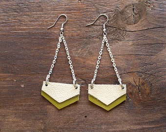 Cream and olive green Geometric Leather Earrings