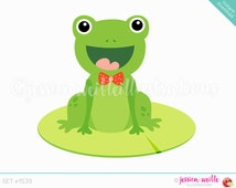 Instant Download Lily Pad Frog Clip Art, Cute Digital Clipart, Frog Clip art, Dapper Frog Graphic, Frog with Bow Tie Illustration, #1539