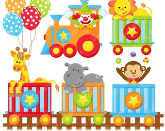 Circus Train Cute Digital Clipart for Commercial or Personal Use, Circus Clipart, Circus Graphics