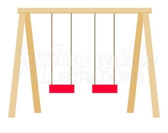 Swing Set Cute Digital Clipart, Playground Clip art, Play Ground Graphics, Swing Set Illustration, #072