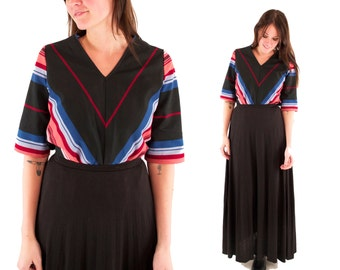 CAMILLE 70s Gorgeous Black Retro Chevron Striped Rainbow Southwestern Boho Folk Blouse Top Shirt Medium M