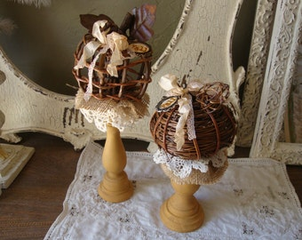 Fall Twig Pumpkins on pedestal table decoration for fall natural neutral home decor grapevine twigs pumpkins cottage chic decorations