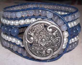 Blue Glass and Pearl Beaded Leather Cuff Bracelet