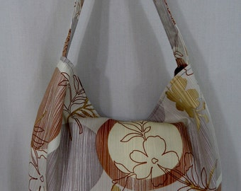 Slouch Purse, Medium Slouchy BAG, Hobo, Shoulder Purse, Sling BAG, Brown and Grey, Abstract Floral