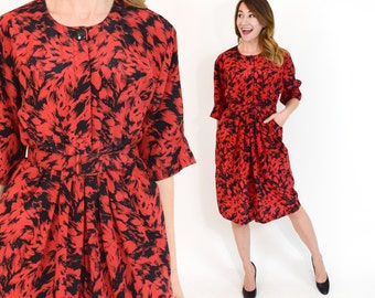80s Red Floral Dress