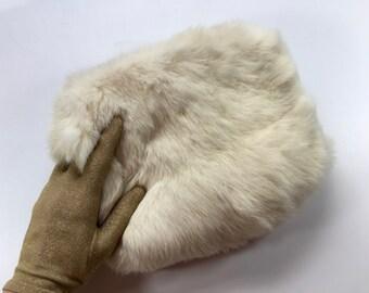 50s White Rabbit Muff | Ivory Fur Muff Hand Warmer Clutch