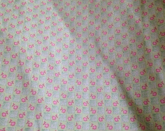 Floral Cotton Quilting Fabric Pink Flowers Gingham Check