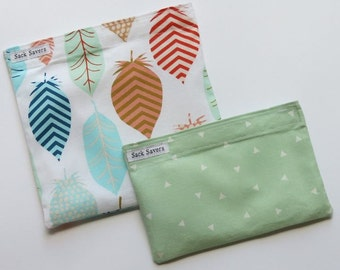 Reusable Sandwich and Snack Bag Set Eco Friendly Feathers Triangles