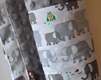 Gender Neutral Organic Baby Infant Toddler Minky XLARGE Snuggle Blanket, Grey Gray Elephant and Grey Gray Minky