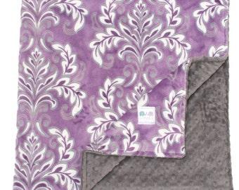 Minky Baby Blanket Purple Bella Madrid, Custom Baby Blanket, Crib Bedding, Travel Blanket, Baby Shower, Throw Blanket, Stroller Blanket