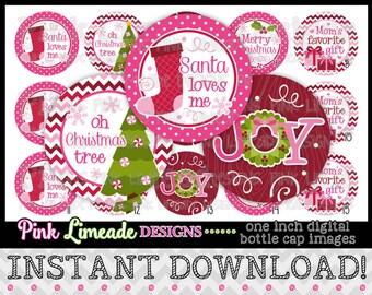 "Pink Christmas Joy - INSTANT DOWNLOAD 1"" Bottle Cap Images 4x6 - 882"