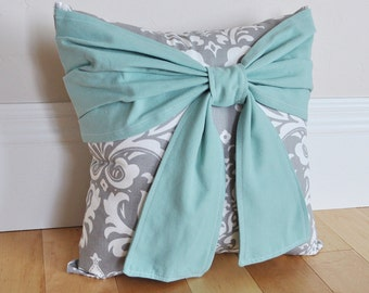 Rustic Teal Throw Pillow Dusty Blue Bow on a Gray and White Damask Pillow 14x14 Housewarming Gift, Custom Decor
