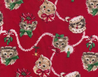 Kitty Garland Retro Vintage look  I Spy Christmas Cat Fabric By the Fat Quarter