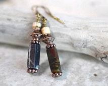 Red & Dark Green Turquoise Earrings Sand Taupe Jasper Earrings Bohemian Stone Earrings Rustic Brass Dangles Country Birthstone