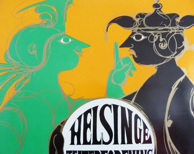 Bjorn Wiinblad print poster Helsinge Teaterforening 1972