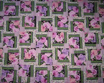 """Timeless Treasures """"Orchids"""" Collection by Chong-A Hwang-Patchwork Quilt-Handmade Quilt   Made in USA by MJ Quilts"""