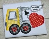 Tow truck heart love applique