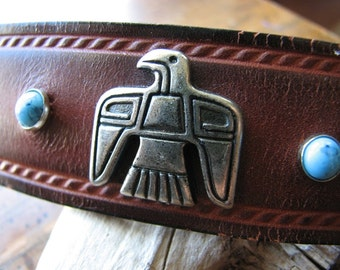 Leather barrette | silver hair | faux turquoise | bird hair clip | tribal animals