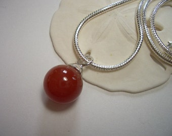 Red Carnelian pendant, 925 sterling silver, rhodium plated, natural gemstone, silver, snake chain necklace, short, natural red Agate pendant