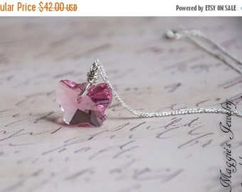 ON SALE Pink Butterfly Necklace, Rose Pink, Sterling Silver, Swarovski Crystal, Bridal, Mother's Day, Feminine Necklace