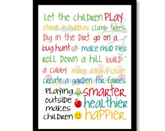 Customizable Let the kids play outside Nursery Baby Decor Nursery wall art, kids art, colors can be changed are per your choice! Made in USA