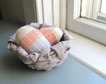 Rustic Country Home Decor Woven Fabric Bird Eggs in a Recycled Rag Nest, Primitive Farmhouse Decor, Cottage Chic Farm Kitchen Home Decor