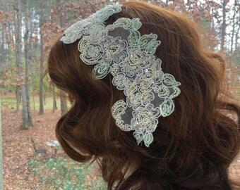 Pearl Beaded Headband, Pearl Lace Headband, Pearl Bridal Headband, Pearl Wedding Headband, Pearl Wedding Headpiece, Pearl Wedding Headband