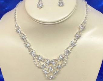 Bridal  Rhinestone Necklace,  Rhinestone Wedding Necklace, Bridal Rhinestone Jewelry, Art Deco Jewelry, Art Deco Necklace
