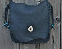 ON SALE A simple black shoulder bag for everyday , Handmade black purse , Black handbag
