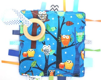 Ready To Ship- Owls On a Whim Midnight Blue UNISEX  Crinkle Crackle Toy with pacifier clip or binky holder - Wooden Teething Blanket