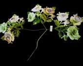 Antique Vintage 1940's Silk Velvet Wired Flower Applique Made in Japan for Floral Arrangement Millinery Hair Accessories Fascinator OCS Box9