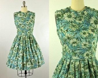 1950's Daisy Cotton Dress M L Floral