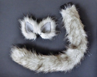 Fluffy White Gray Brown Faux Fur Cat Costume Set Ears and Tail Halloween Cosplay