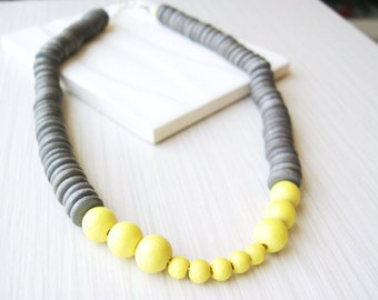 Grey Wood Necklace, 5th Anniversary Gift, Yellow, Statement Jewelry, Modern, Contemporary, Adjustable, Funky, Artsy, Heishi Beads