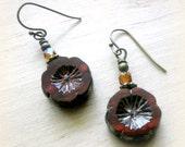Gypsy Earrings Czech Glass Flower Earrings Handmade Tribal Earrings Czech Glass Earrings Hippie Earrings Bohemian Earrings Boho Jewelry