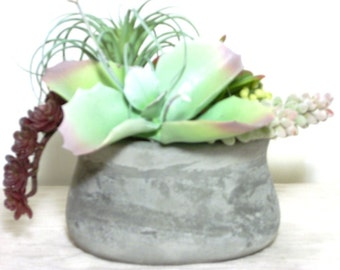 Ready To Ship Miniature Faux Succulent Planter In Trending Industrial Cement Gray