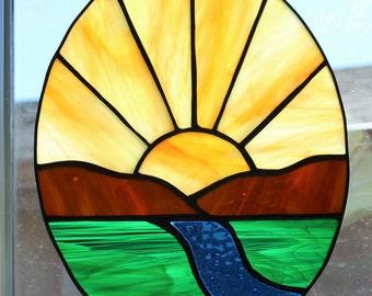 STAINED GLASS SUNCATCHER - Sunrise Sunset Stained Glass Window Suncatcher, Stained Glass Panel, Inspirational Suncatcher, Oval Suncatcher