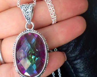 Sale Mystic Topaz Necklace - Sterling Silver Chain 16 to 30 inches long