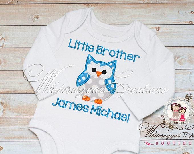 Little Brother Owl Shirt - Baby Custom Shirt - Baby Boy Shirt - Siblings Shirt