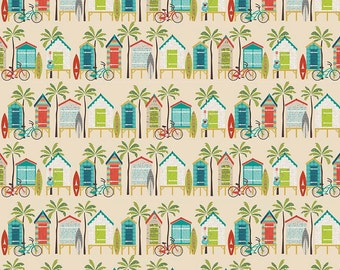 Beach Huts on Tan - Offshore from Riley Blake - Full or Half Yard Offshore Beach Hut Tan