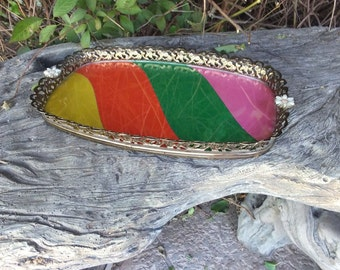 Vintage 60s/70s Funky Boho Oval Vanity Tray, Colorful Vanity Accessory, Gold Filigree Vanity Tray, Decorative Dresser Tray